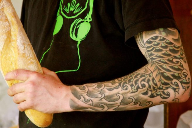 Tattoo Bäcker, Wochenmarkt Berlin Boxhagener Platz