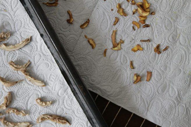 Pilze trocknen, Parasol und Butterpilz
